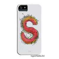 Whimsical S Monogramed Phone case, Personalized, Letter S iPhone Case, iPhone 5 case, Galaxy S3 Case, Galaxy S4 case, by Ingrid Padilla