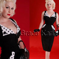 Vintage Women Rockabilly Pinup Bodycon Fitted Cocktail Party Pencil Sheath Dress