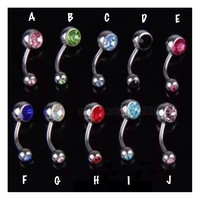 Gem Accented Standard 316L Ball Belly Ring