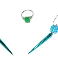Blue Spike Shamballa Earrings, bright green ring ,Jewellery set , Great value set