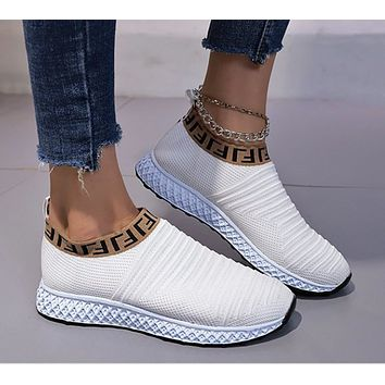 Large size breathable women's shoes mesh fashion sports shoes women's 2021 leisure running flying weaving