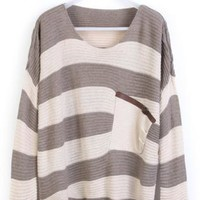 Coffee Striped Bats Long Sleeve Pullovers Sweaters