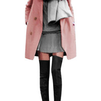 Pink Plus Size Double Breasted Duffle Coat