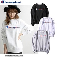 Champion Embroidered Color Letters Cotton Round Neck Sweater S Xl