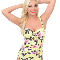 Seafolly Yellow Floral Vintage Vacation Retro Halter Maillot Swimsuit
