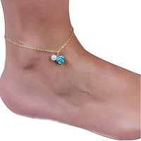 Blue Rose & Pearl Chain Ankle Bracelet-Gold