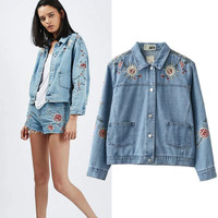 Autumn Floral Embroidery With Pocket Denim Jacket [6332327812]