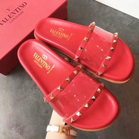 Valentino Sandals Summer slipper slippers Women Girl Shoes Red