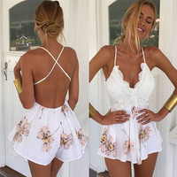 Hot Marketing Women Lace Printing V Neck Strap Sleeveless Jumpsuit Rompers Playsuit