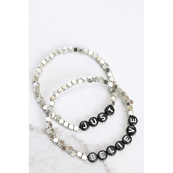 Just Believe Beaded Bracelets Set in Silver Tone