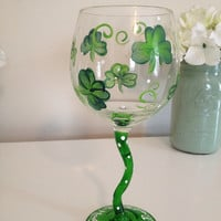 Unique Hand Painted Shamrocks Wine Glass Sale Great for St Patricks Day Only 6 in Stock