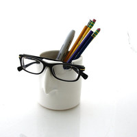 pencil holder,brush cup, eyeglass holder, gift for co worker, desk accessory, storage and organization, office decor