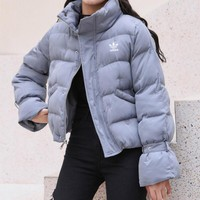 """Adidas"" Women Fashion Simple Solid Color Long Sleeve Upright Neck Cotton-padded Clothes Coat"