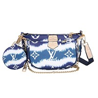 LV Louis Vuitton Tie-Dye Colorblock Mahjong Bag Three-piece Set