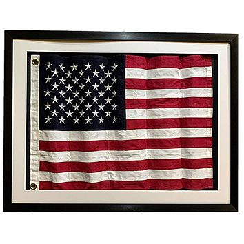 Framed Real Cloth Cotton Embroidered American Flag, USA Flag