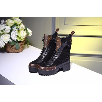 lv louis vuitton trending womens black leather side zip lace up ankle boots shoes high boots 327