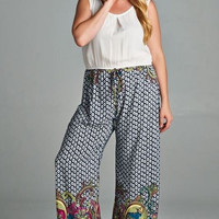 Swirly Girl Plus Size Jumpsuit-Tua-Navy Multi-Purple & White