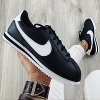 Alwayn Nike Classic Cortez Forrest Sports Shoes Classic Shoes Leisure Sneakers Black(white hook)