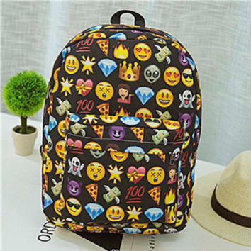 Emoji Backpack Pretty Style Womens Canvas Backpack Emoji Face Printing School Bag For Teenager Girls