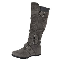 Womens Knee High BootsRuched Leather BucklesKnitted Calf Gray