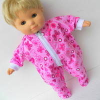 """American Girl Bitty Baby Clothes 15"""" Doll Clothes Pink Heart Flower Butterfly Print Zip Up Feetie Flannel Pajamas Pjs Sleeper"""