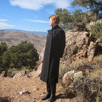 Military Coat. Pea Coat. Double Breasted Long Coat. Black Wool. Size S to M.