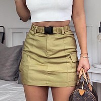 Fashionable Sexy Buttock Short Skirt Street Women's Explosive Belt Large Pocket Half-length Skirt