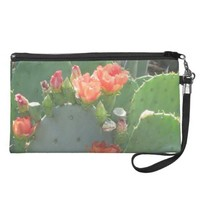 Prickly Pear Cactus Green Red Bloom Wristlet