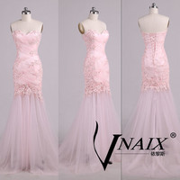 Sexy Pink Lace Applique Crystal Beaded Mermaid Sexy See Through Tulle  Sweetheart Neck Prom dress Evening Dress Wdding Party Dress