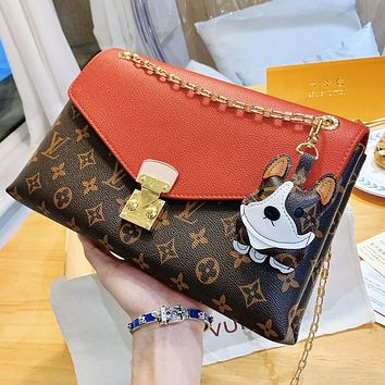Bunchsun LV Louis Vuitton New Women Fashion Leather Metal Chain Satchel Crossbody Shoulder Bag