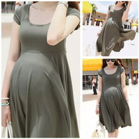 New Maternity Dress Pregnant Women Short Sleeve Cotton Dresses Casual Pregnancy Clothes For Pregnant Women = 1946679620