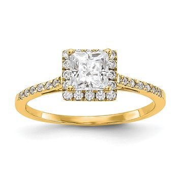 1/3 Ct. Ct. Natural Princess Cut Diamond Semi-mount Engagement Ring in 14K Yellow  Gold (Center Diamond is not Included)