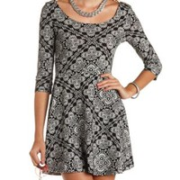 Paisley Tile Print Skater Dress by Charlotte Russe - Black Combo