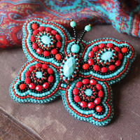 Butterfly Brooch Turquoise Red Brooch Embroidery Butterfly Cabochon Brooch Nature Jewelry Beadwork Turquoise Jewelry Gift for her