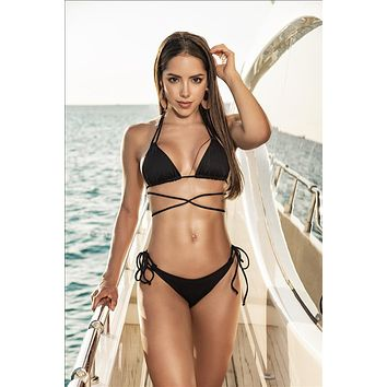 Black Two Piece Wrap Around Tie Top & Thong Bottom Bikini