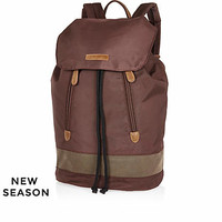BROWN NYLON BACKPACK