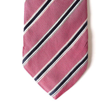 Vintage Men Necktie, Silk Bordeax Burgundy Blue White Tie, Man Accessories, Stripes Design