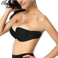 Sexy Woman Adhesive Stick On Gel Strapless Invisible Bras For Underwear Women Backless 3/4 Cup Sticky Seamless Bralette