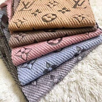 LV Louis Vuitton Popular Men Women Multicolor Embroider Easy To Match Scarf Scarves Accessories