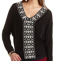 EMBROIDERED LONG SLEEVE KNIT TOP