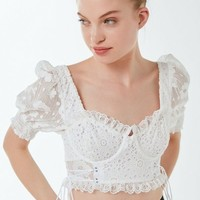 For Love & Lemons Indio Lace Bustier Cropped Top | Urban Outfitters