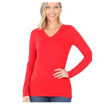 Brushed Microfiber Long Sleeve V Neck Ruby Red Tee Top
