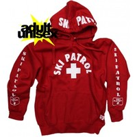 Ski Patrol Sweatshirt Hoodie Skiing Life Guard Red Adult NYC Factory