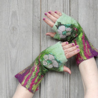 Hand felted mittens in green and purple, decorated with vintage silk fabric and wool curls. OOAK