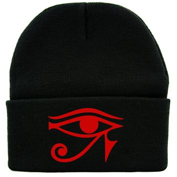Red Egyptian God Eye of Ra Symbol Cuff Beanie Knit Cap Occult Alternative Clothing