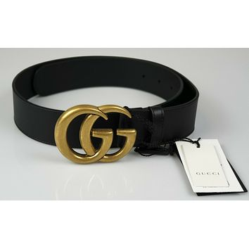 New GUCCI 400593 Black Leather Belt With Double G Buckle