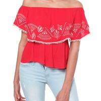 Flamenco Ruffle Top - Red Print