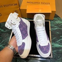 Louis Vuitton LV Fashionable Women Casual Print High Tops Sport Running Shoes Sneakers White/Purple