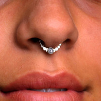 Nose Ring / SEPTUM RING / Ear /Cartilage Sterling Silver / 16g / Clear CZ or your choice. Handcrafted .