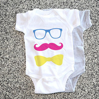 Toddler Gift - Baby Onesuit Funny -  Sunglasses Mustache Bow Tie